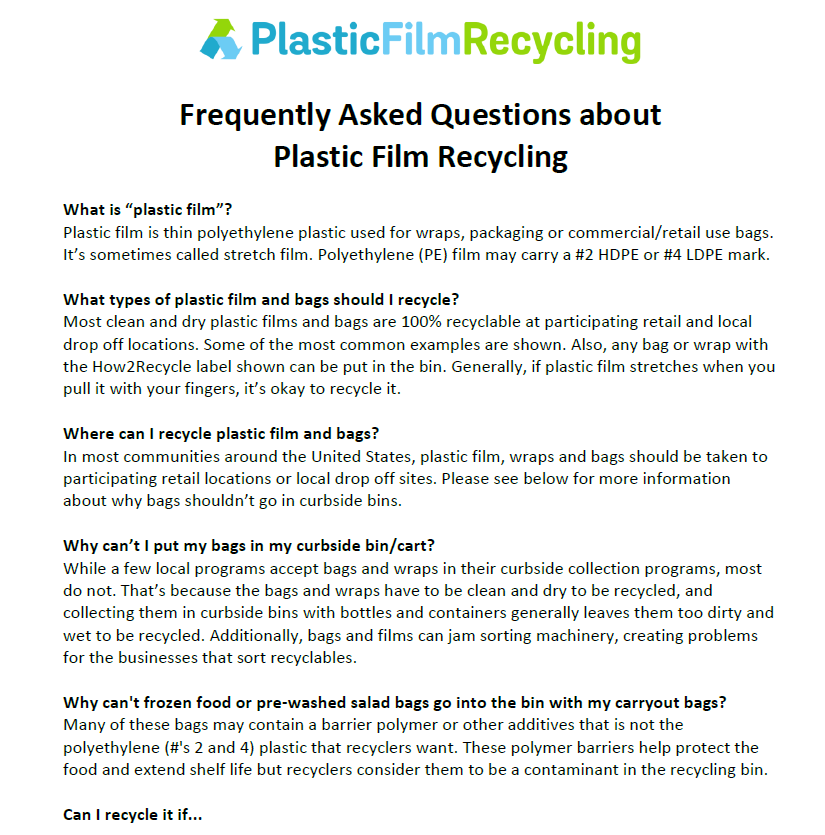 Plastic Film Education for Individuals - Plastic Film Recycling